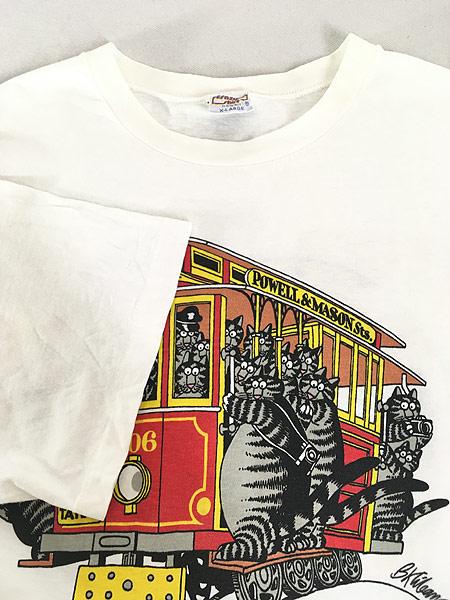 [4] 古着 90s USA製 Crazy Shirts Hawaii ケーブルカー クリバンキャット Tシャツ XL 古着
