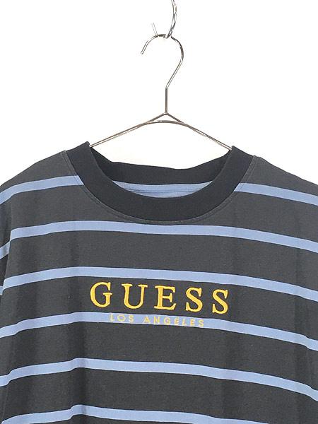 [2] 古着 GUESS ゲス ワンポイント 刺しゅう ボーダー Tシャツ S 古着