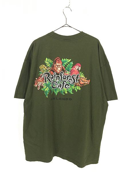 [3] 古着 Rainforest Cafe 「ORLANDO」 ワンポイント BIG Tシャツ XXL 古着