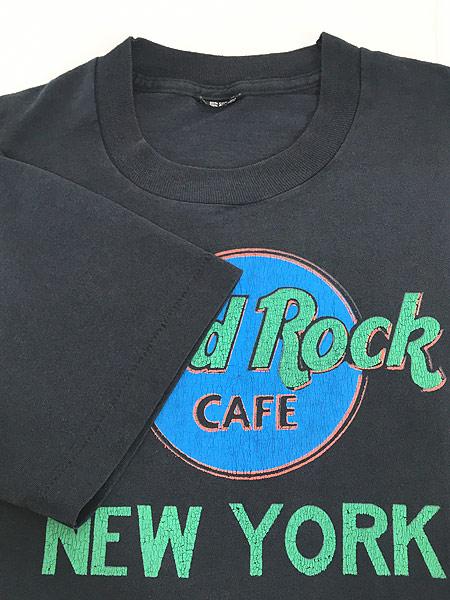 [4] 古着 80s Hard Rock Cafe 「NEW YORK」 BIGロゴ ハードロック Tシャツ L 古着
