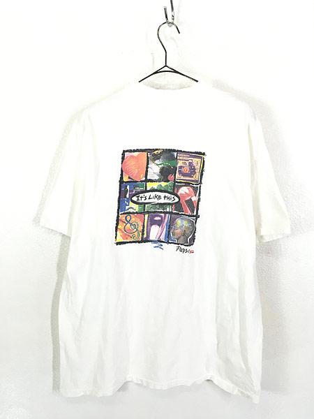 [3] 古着 90s USA製 PEPSI 「OPEN YOUR MIND」 ペプシ コーラ アート Tシャツ XL 古着
