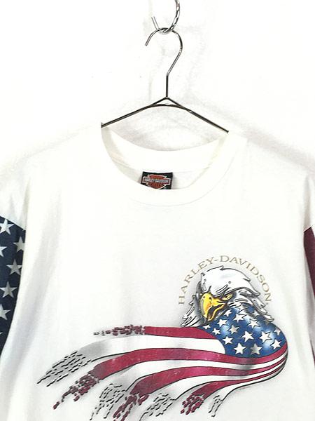 [2] 古着 90s USA製 HARLEY DAVIDSON 星条旗 パターン モーター Tシャツ L 古着