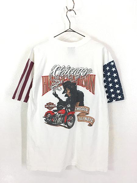 [3] 古着 90s USA製 HARLEY DAVIDSON 星条旗 パターン モーター Tシャツ L 古着