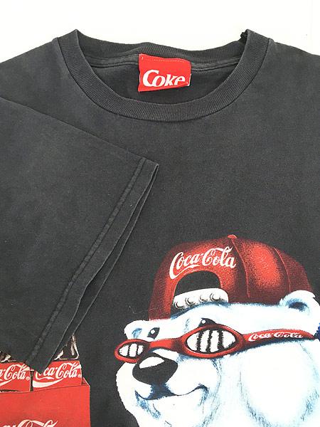 [4] 古着 90s USA製 Coca-Cola コーラ シロクマ BIG プリント Tシャツ 黒 L 古着