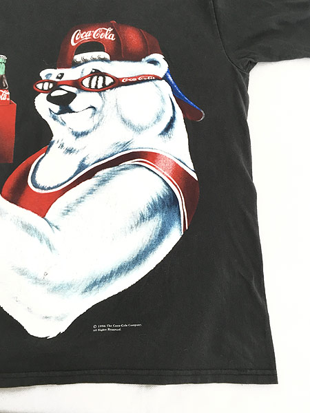 [5] 古着 90s USA製 Coca-Cola コーラ シロクマ BIG プリント Tシャツ 黒 L 古着