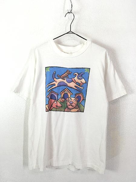 [1] 古着 90s USA製 犬 ワンちゃん アニマル ポップ アート Tシャツ L 古着