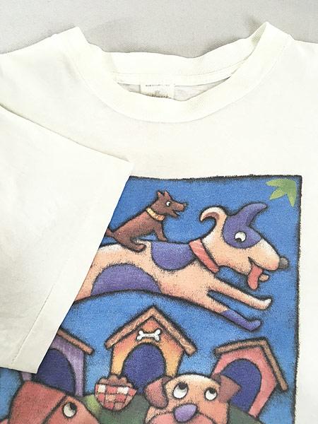 [4] 古着 90s USA製 犬 ワンちゃん アニマル ポップ アート Tシャツ L 古着