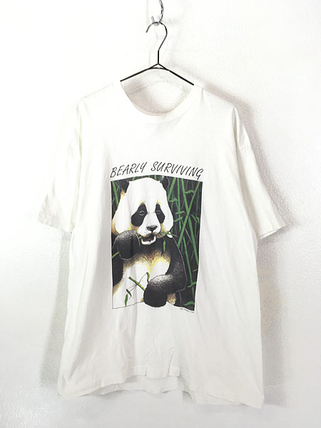[1] 古着 90s USA製 「BEARLY SURVIVING」 パンダ アニマル Tシャツ XL 古着