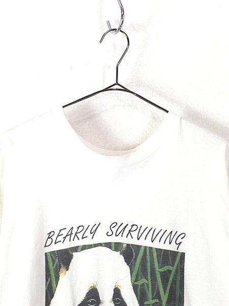 [2] 古着 90s USA製 「BEARLY SURVIVING」 パンダ アニマル Tシャツ XL 古着