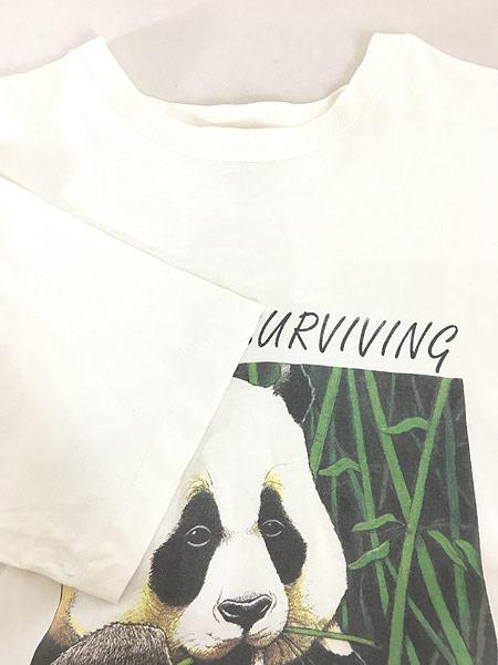 [4] 古着 90s USA製 「BEARLY SURVIVING」 パンダ アニマル Tシャツ XL 古着