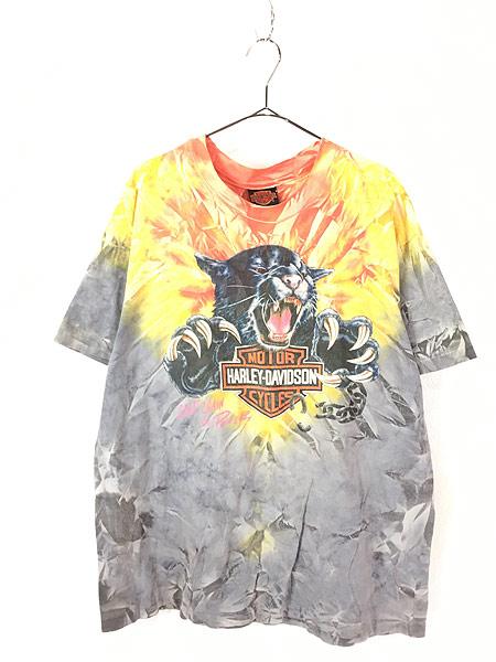 [1] 古着 90s USA製 HARLEY DAVIDSON ビッグキャット タイダイ Tシャツ XL 古着