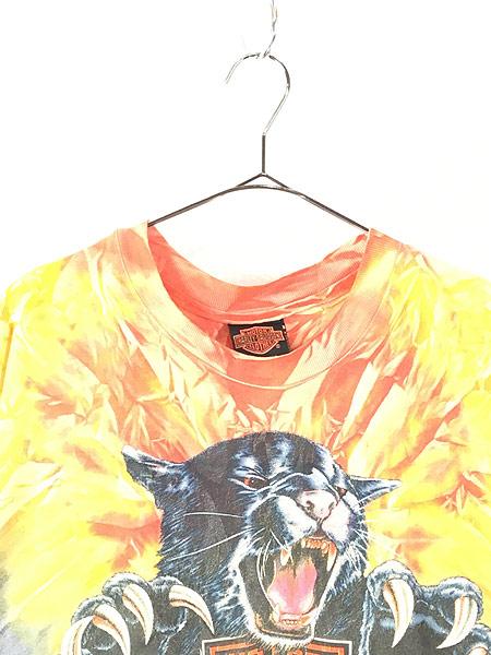 [2] 古着 90s USA製 HARLEY DAVIDSON ビッグキャット タイダイ Tシャツ XL 古着
