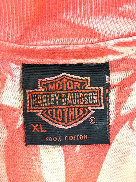 [5] 古着 90s USA製 HARLEY DAVIDSON ビッグキャット タイダイ Tシャツ XL 古着