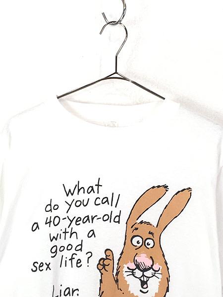 [2] 古着 90s USA製 Shoe Box 「Sex」 ウサギ ポップ アート メッセージ Tシャツ L 古着