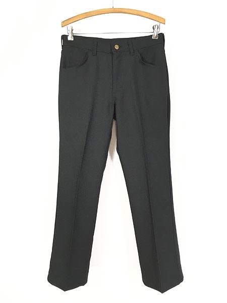 [1] 古着 70s USA製 Lee 201-0801 ブラック スラックス パンツ ブーツカット 黒 W31 L30 古着