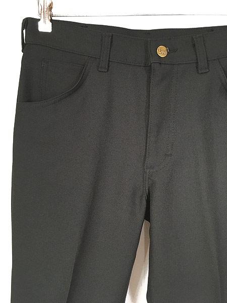 [2] 古着 70s USA製 Lee 201-0801 ブラック スラックス パンツ ブーツカット 黒 W31 L30 古着