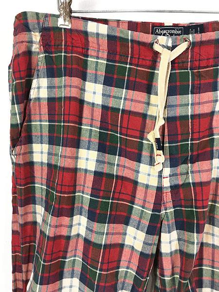 [2] 古着 90s Abercronbie&Fitch カラフル チェック イージー パンツ L ブランド 古着