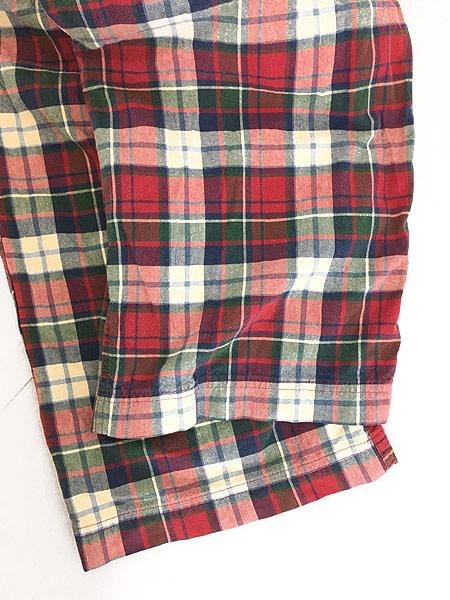 [5] 古着 90s Abercronbie&Fitch カラフル チェック イージー パンツ L ブランド 古着