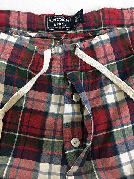 [6] 古着 90s Abercronbie&Fitch カラフル チェック イージー パンツ L ブランド 古着