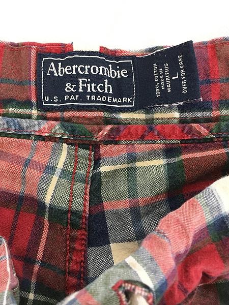 [7] 古着 90s Abercronbie&Fitch カラフル チェック イージー パンツ L ブランド 古着