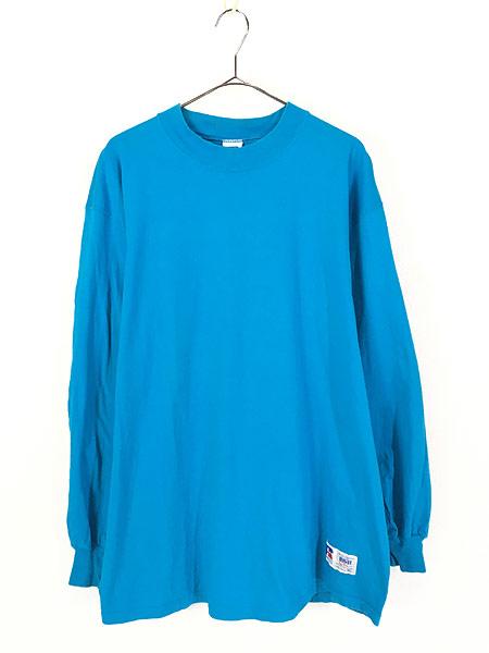 [1] 古着 90s USA製 Russell 無地 ソリッド ネオンカラー モックネック 長袖 Tシャツ ロンT XL 古着