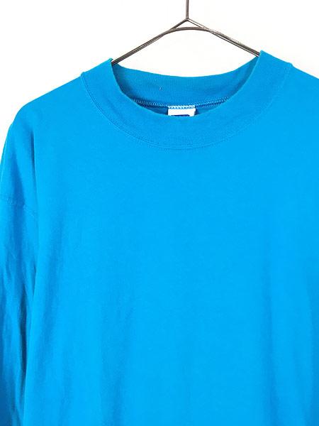 [2] 古着 90s USA製 Russell 無地 ソリッド ネオンカラー モックネック 長袖 Tシャツ ロンT XL 古着