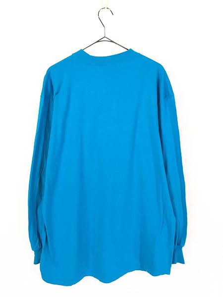 [3] 古着 90s USA製 Russell 無地 ソリッド ネオンカラー モックネック 長袖 Tシャツ ロンT XL 古着