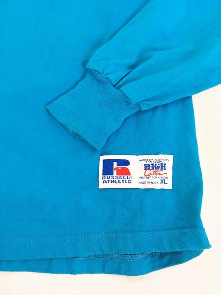 [4] 古着 90s USA製 Russell 無地 ソリッド ネオンカラー モックネック 長袖 Tシャツ ロンT XL 古着