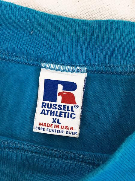 [5] 古着 90s USA製 Russell 無地 ソリッド ネオンカラー モックネック 長袖 Tシャツ ロンT XL 古着