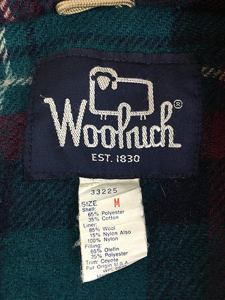 [8] 古着 80s USA製 WoolRich コヨーテ ファー パデット マウンテン パーカー マウンパ M 古着