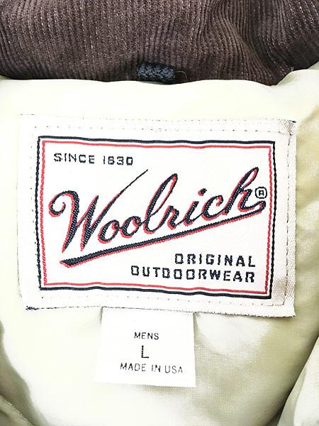 [7] 古着 90s USA製 WoolRich 襟コーデュロイ 60/40 クロス ダウン コート L 古着