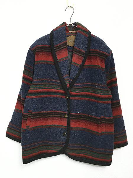 [1] 古着 90s USA製 WoolRich ネイティヴ ボーダー ショールカラー ウール ジャケット M 古着 美品!!
