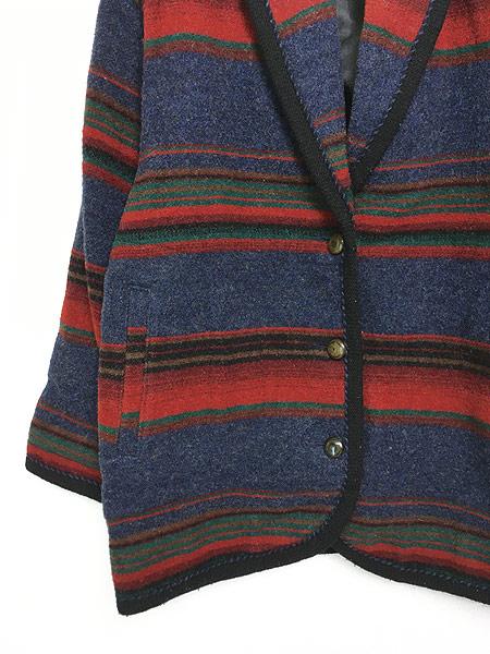 [3] 古着 90s USA製 WoolRich ネイティヴ ボーダー ショールカラー ウール ジャケット M 古着 美品!!