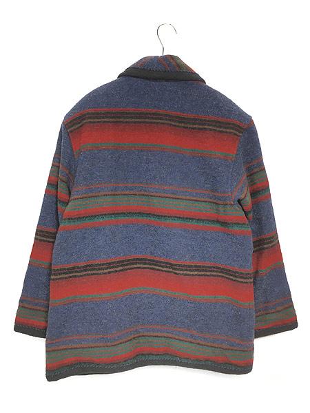 [4] 古着 90s USA製 WoolRich ネイティヴ ボーダー ショールカラー ウール ジャケット M 古着 美品!!