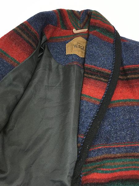 [6] 古着 90s USA製 WoolRich ネイティヴ ボーダー ショールカラー ウール ジャケット M 古着 美品!!