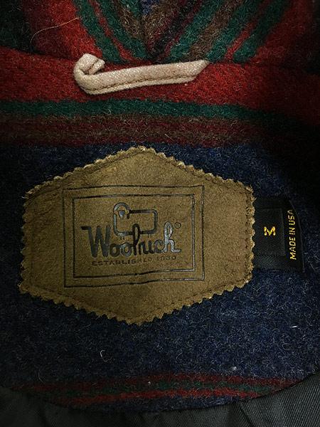[7] 古着 90s USA製 WoolRich ネイティヴ ボーダー ショールカラー ウール ジャケット M 古着 美品!!