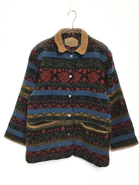 [1] 古着 90s USA製 WoolRich 本革 レザー × ネイティヴ 総柄 ウール ジャケット M 古着