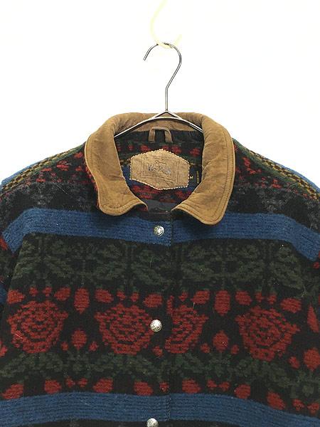 [2] 古着 90s USA製 WoolRich 本革 レザー × ネイティヴ 総柄 ウール ジャケット M 古着
