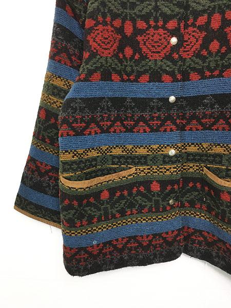 [3] 古着 90s USA製 WoolRich 本革 レザー × ネイティヴ 総柄 ウール ジャケット M 古着