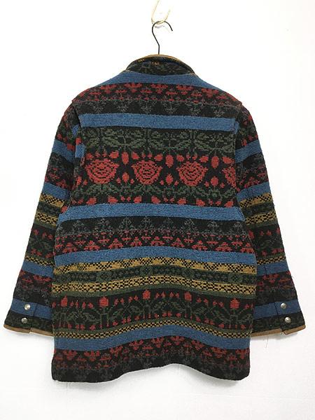 [4] 古着 90s USA製 WoolRich 本革 レザー × ネイティヴ 総柄 ウール ジャケット M 古着
