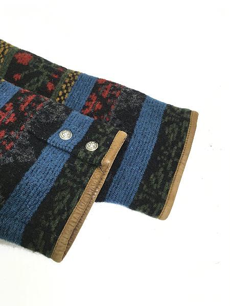 [5] 古着 90s USA製 WoolRich 本革 レザー × ネイティヴ 総柄 ウール ジャケット M 古着