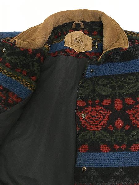 [6] 古着 90s USA製 WoolRich 本革 レザー × ネイティヴ 総柄 ウール ジャケット M 古着