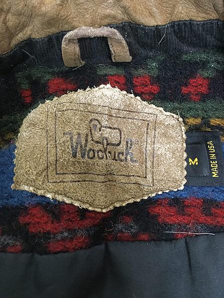 [7] 古着 90s USA製 WoolRich 本革 レザー × ネイティヴ 総柄 ウール ジャケット M 古着