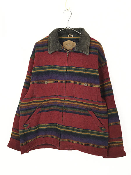 [1] 古着 90s USA製 WoolRich 襟コーデュロイ ネイティヴ ボーダー ウール ジャケット M 古着
