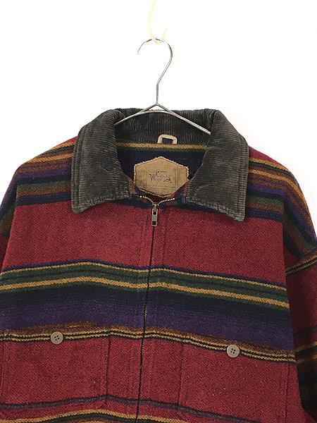 [2] 古着 90s USA製 WoolRich 襟コーデュロイ ネイティヴ ボーダー ウール ジャケット M 古着