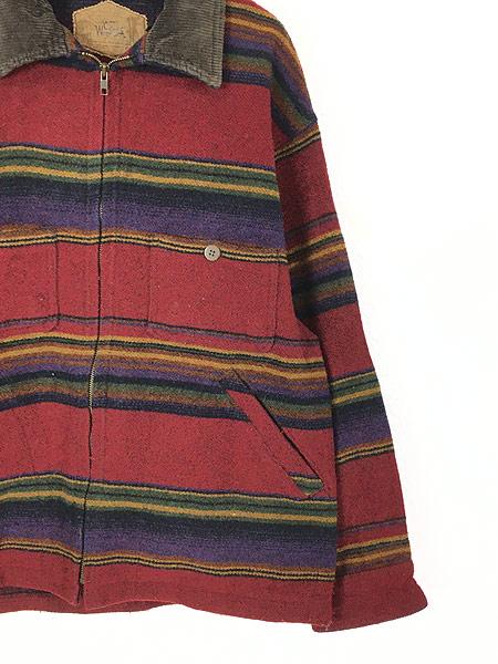 [3] 古着 90s USA製 WoolRich 襟コーデュロイ ネイティヴ ボーダー ウール ジャケット M 古着