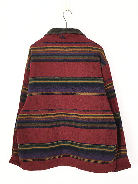 [4] 古着 90s USA製 WoolRich 襟コーデュロイ ネイティヴ ボーダー ウール ジャケット M 古着