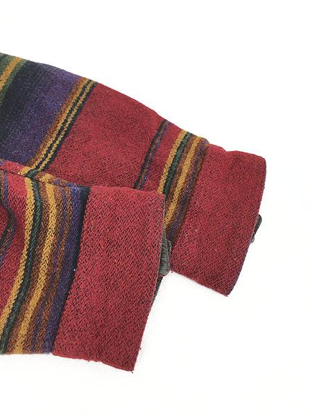 [5] 古着 90s USA製 WoolRich 襟コーデュロイ ネイティヴ ボーダー ウール ジャケット M 古着