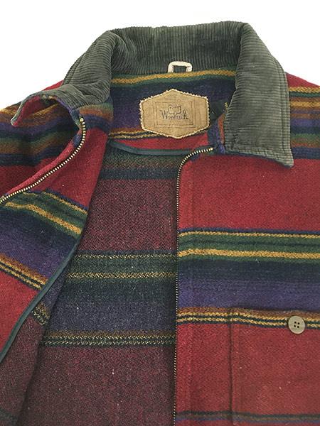 [6] 古着 90s USA製 WoolRich 襟コーデュロイ ネイティヴ ボーダー ウール ジャケット M 古着