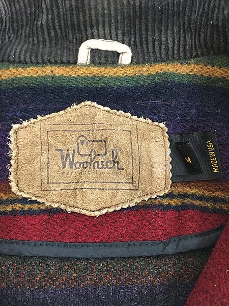 [7] 古着 90s USA製 WoolRich 襟コーデュロイ ネイティヴ ボーダー ウール ジャケット M 古着